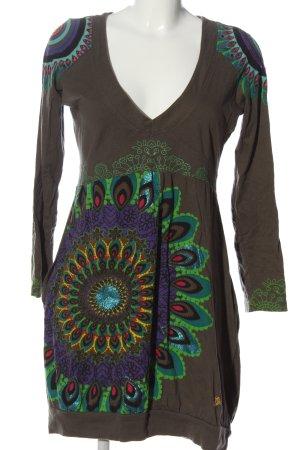 Desigual Sukienka z długim rękawem Abstrakcyjny wzór W stylu casual