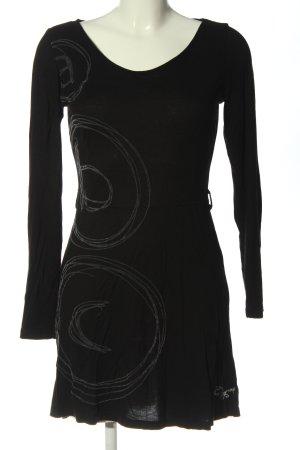 Desigual Vestido de manga larga negro estampado temático look casual