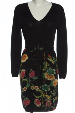 Desigual Langarmkleid schwarz-grün Blumenmuster Casual-Look