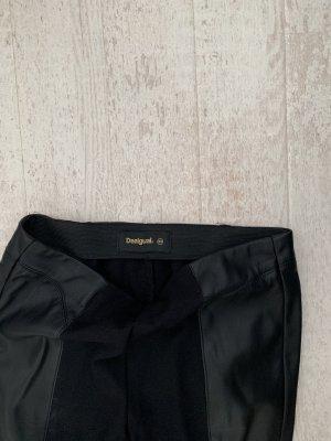 Desigual leggins schwarz, xs, mit kunstledereinsatz