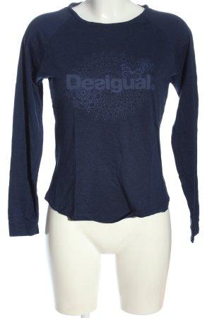 Desigual Longsleeve blau Motivdruck Casual-Look