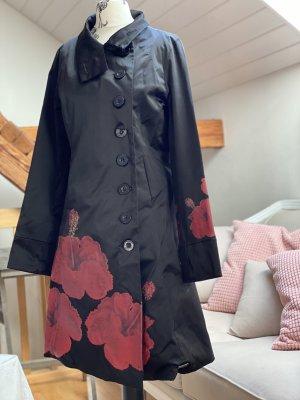 Desigual Krótki płaszcz czarny-ciemnoczerwony