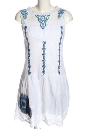 Desigual Minikleid weiß-blau Motivdruck Casual-Look
