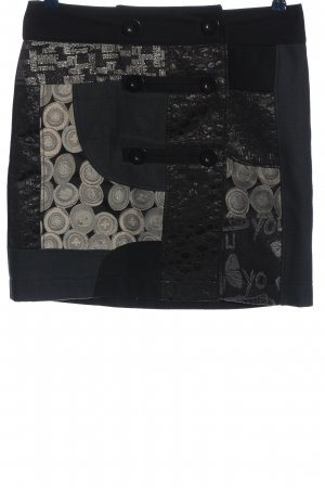 Desigual Minirock schwarz-hellgrau grafisches Muster Casual-Look