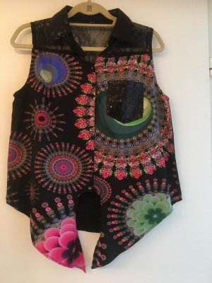 Desigual Oberteil Bluse Hemd für Frauen & Mädchen in Gr. L (38/40) / schwarz mit pink, rosa, blau & grün / WIE NEU