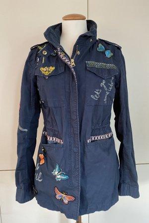 Desigual Military Jacket dark blue cotton