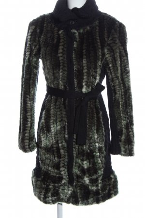 Desigual Abrigo de piel negro-gris claro elegante