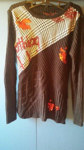 DESIGUAL Pullover, Gestrickt, Abstraktes Muster, Pallietten