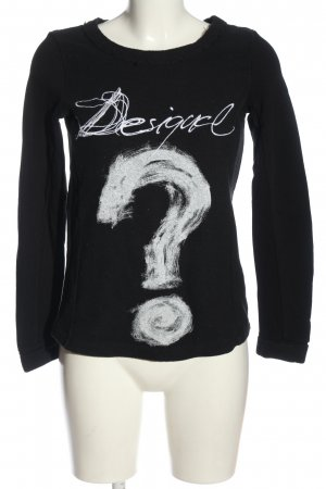 Desigual Rundhalspullover schwarz-weiß Motivdruck Casual-Look