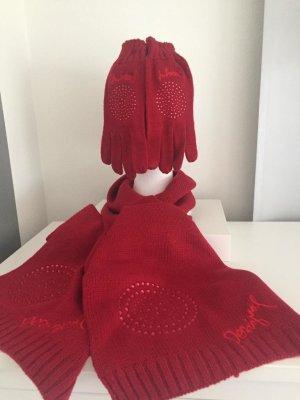 Desigual Écharpe en tricot rouge