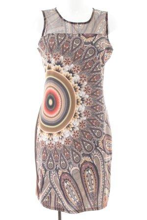 Desigual Robe tube brun-crème motif graphique style décontracté