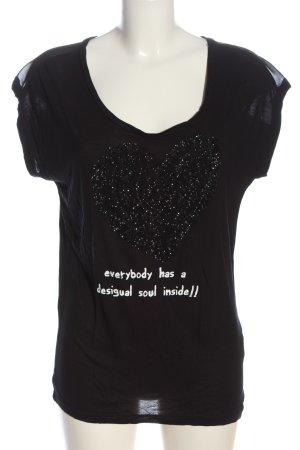 Desigual Schlupf-Bluse schwarz-weiß Schriftzug gedruckt Casual-Look