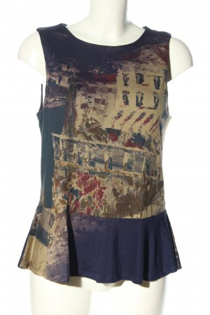 Desigual Peplum Top blue-brown abstract pattern casual look