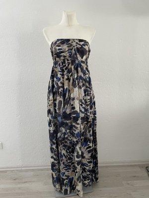 Desigual Schulterfreies Kleid Muster gr 36 grau Blau