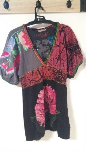 DESIGUAL Shirt, Kurzarm, Geraffte Ärmel, Bunt, Floral