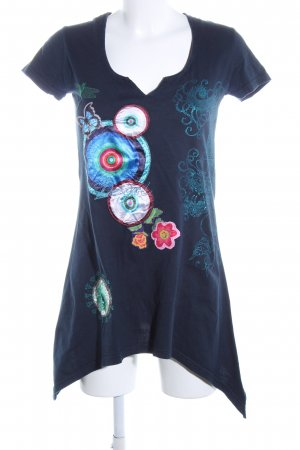 Desigual Shirtkleid blau Mustermix Glanz-Optik