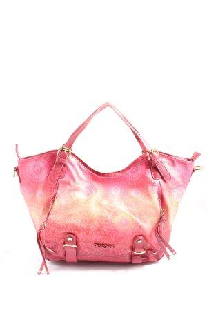 Desigual Shopper roze-sleutelbloem volledige print casual uitstraling