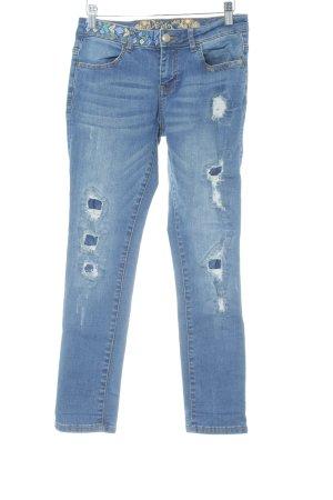 Desigual Skinny Jeans blau abstraktes Muster Destroy-Optik