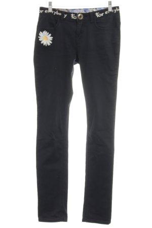 Desigual Slim Jeans dunkelblau-weiß Motivdruck Casual-Look