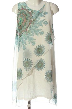 Desigual Sommerkleid weiß-türkis abstraktes Muster Elegant