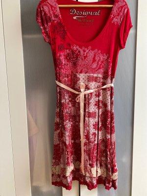 Desigual Lace Dress dark red