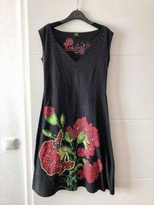 Desigual Letnia sukienka czarny-ciemnoczerwony