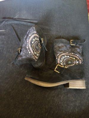 Desigual Botki niebieski Tkanina z mieszanych włókien