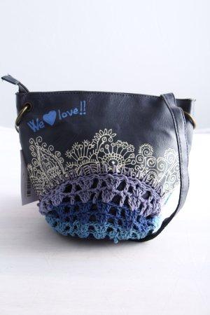 Desigual Stofftasche blau-wollweiß Motivdruck Casual-Look