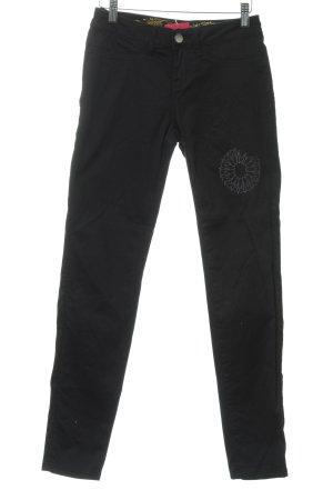 Desigual Straight-Leg Jeans schwarz florales Muster Casual-Look