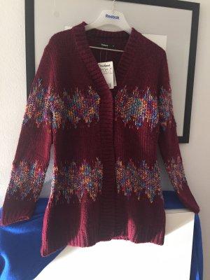 Desigual Gilet long tricoté multicolore