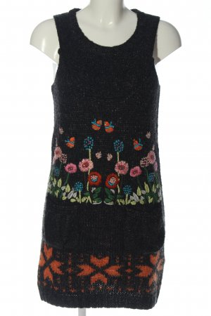 Desigual Vestido tejido negro estampado floral look casual