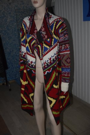 Desigual Knitted Coat black-red