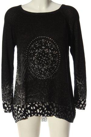 Desigual Sweter z dzianiny czarny Zwierzęcy wzór W stylu casual