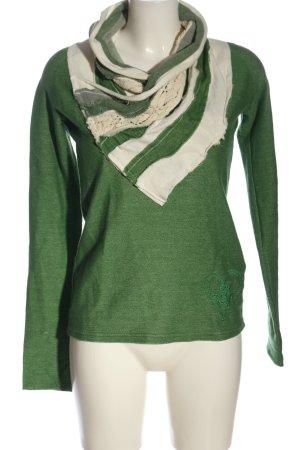 Desigual Jersey de punto verde-blanco estampado a rayas elegante