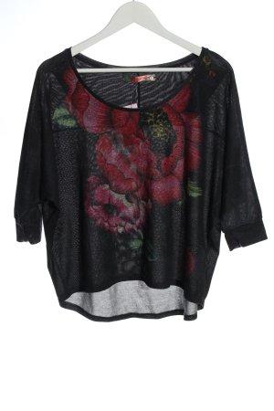 Desigual Maglione lavorato a maglia nero-rosso motivo floreale stile casual