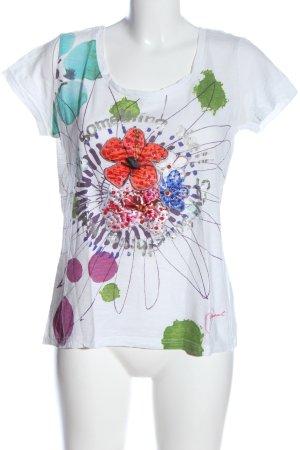 Desigual Koszulka z dzianiny biały Wzór w kwiaty W stylu casual
