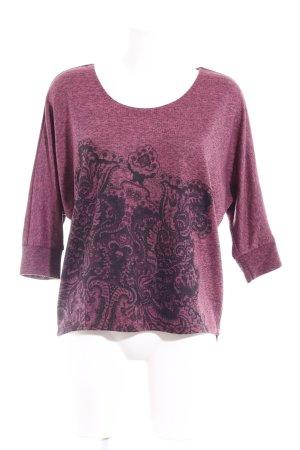 Desigual Strickshirt purpur-schwarz Ornamentenmuster Casual-Look
