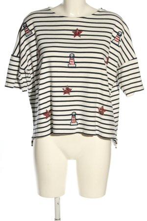 Desigual Sweatshirt wollweiß-schwarz Streifenmuster Casual-Look