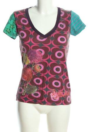 Desigual T-Shirt türkis-pink Blumenmuster Casual-Look