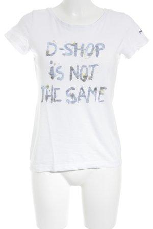 Desigual T-Shirt weiß-stahlblau Motivdruck sportlicher Stil