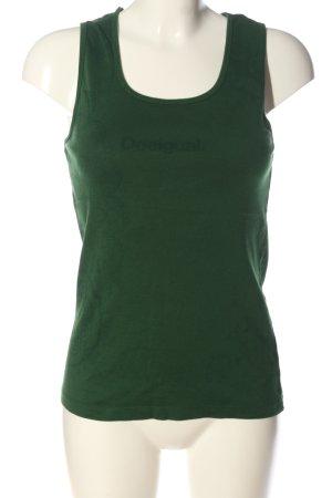 Desigual Tanktop grün-khaki Schriftzug gedruckt Casual-Look