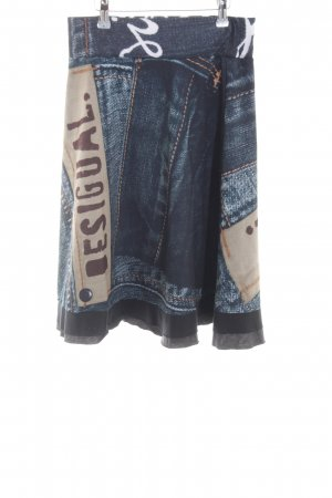 Desigual Circle Skirt blue-brown abstract pattern casual look