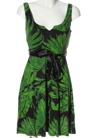 Desigual Trägerkleid grün-schwarz Allover-Druck Casual-Look