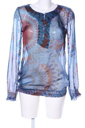 Desigual Transparenz-Bluse blau-braun abstraktes Muster Elegant