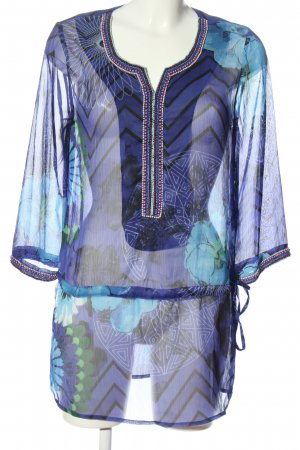 Desigual Transparenz-Bluse blau-grün Allover-Druck Casual-Look