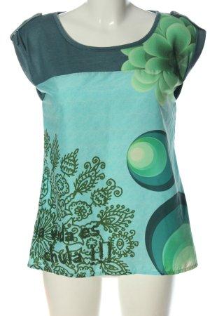 Desigual Top à col bateau turquoise-vert motif abstrait style décontracté