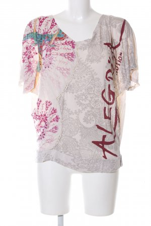 Desigual Boothalsshirt wolwit-rood abstract patroon casual uitstraling