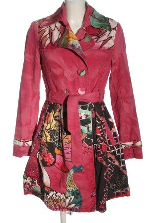 Desigual Abrigo de entretiempo rosa-negro estampado con diseño abstracto