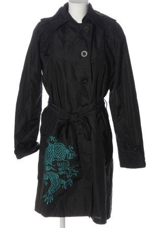 Desigual Cappotto mezza stagione nero-turchese Stampa a tema stile casual