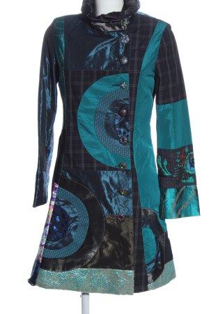 Desigual Abrigo de entretiempo azul-turquesa estampado con diseño abstracto